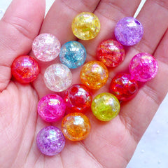 Kawaii Chunky Beads | 12mm Cracked Bead Assortment | Assorted Crackle Beads | Acrylic Gumball Beads | Plastic Bubblegum Beads | Iridescent Ball Beads | Holographic Round Beads (AB Color Mix / 15pcs)