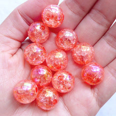 14mm Cracked Beads | Kawaii Crackle Beads | Plastic Gumball Beads | Acrylic Bubblegum Beads | Round Ball Beads | Iridescent Chunky Beads (AB Clear Coral Pink / 10pcs)