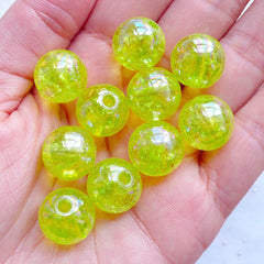 14mm Crackle Beads | Kawaii Cracked Beads | Plastic Chunky Beads | Acrylic Ball Beads | Round Beads | Cute Bubblegum Beads | Iridescent Gumball Beads (AB Clear Lime Green / 10pcs)