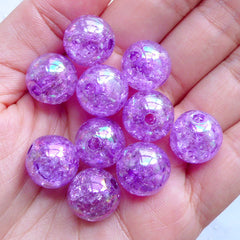 Crackle Chunky Beads | 14mm Acrylic Cracked Beads | Kawaii Ball Beads | Plastic Round Beads | Cute Gumball Beads | Iridescent Bubblegum Beads (AB Clear Purple / 10pcs)