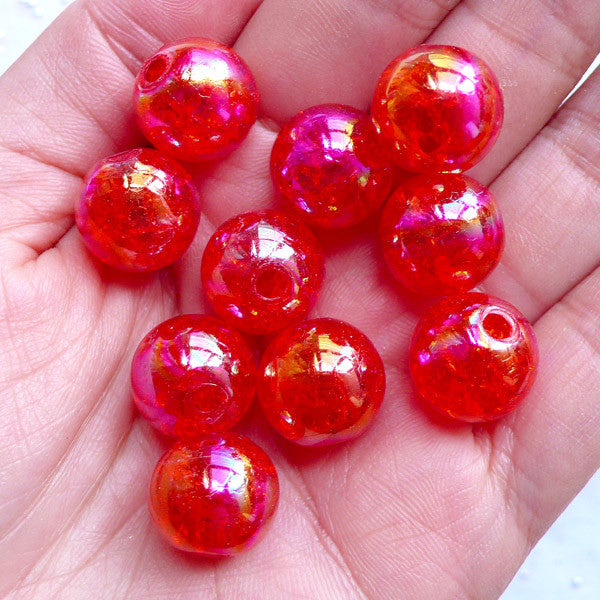 Cracked Chunky Beads | 14mm Acrylic Crackle Beads | Kawaii Round Beads | Plastic Ball Beads | Bubblegum Beads | Holographic Gumball Beads | Cute Bead Supplies (AB Clear Red / 10pcs)