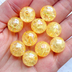 Acrylic Cracked Beads | 14mm Round Crackle Beads | Chunky Ball Beads | Plastic Beads | Kawaii Gumball Beads | Holographic Bubblegum Beads | Cute Bead Supply (AB Clear Orange / 10pcs)
