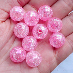 Acrylic Crackle Beads | 14mm Cracked Round Beads | Chunky Plastic Beads | Kawaii Bubblegum Beads | Cute Gumball Beads | Holographic Ball Beads (AB Clear Pink / 10pcs)
