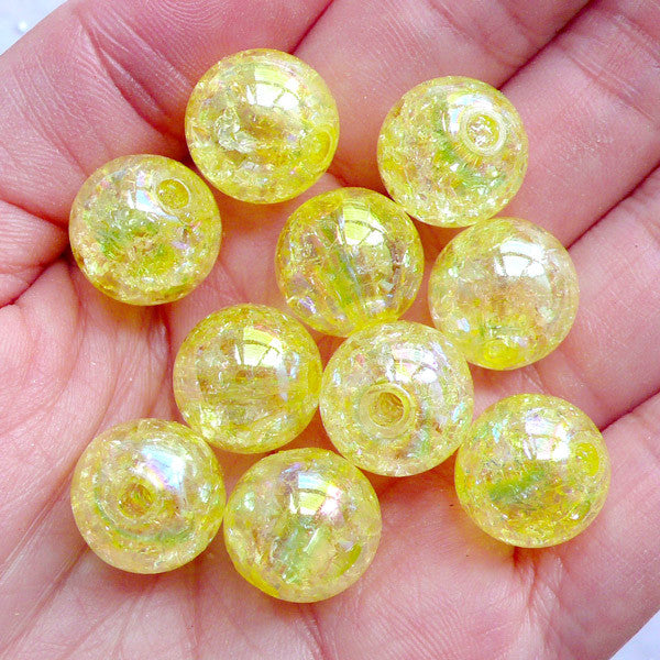 Chunky Crackle Beads | 14mm Round Cracked Beads | Plastic Bubblegum Beads | Cute Acrylic Beads | Gumball Beads | Aurora Borealis Ball Beads | Kawaii Bead Supplies (AB Clear Yellow / 10pcs)