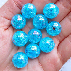 Chunky Cracked Beads | 14mm Crackle Round Beads | Acrylic Gumball Beads | Bubblegum Beads | Cute Ball Beads | Aurora Borealis Beads | Kawaii Plastic Bead Supply (AB Clear Blue / 10pcs)