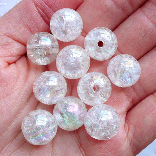 Kawaii Bead Supplies | 14mm Chunky Acrylic Beads | Cracked Gumball Beads | Crackle Bubblegum Beads | Cute Round Beads | Aurora Borealis Plastic Beads | Transparent Ball Beads (AB Clear White / 10pcs)