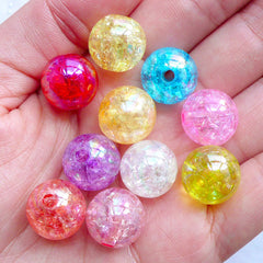 Assorted Cracked Beads | 14mm Crackle Bead Assortment | Kawaii Acrylic Bead Mix | Plastic Gumball Beads | Chunky Bubblegum Beads | Holographic Ball Beads | Iridescent Round Beads (Aurora Borealis Colors / 10pcs)