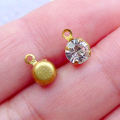 Glass Rhinestone Charms in 5mm | Mini Crystal Gem Drop | Diamond Dangles | Tiny Faceted Rhinestone Pendant | Bling Bling Jewellery Making (6pcs / Antique Gold & Clear / 5mm x 8mm)