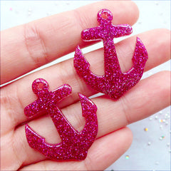 Kawaii Anchor Charms with Glitter | Glittery Anchor Pendant | Nautical Anchor Cabochons | Resin Flatback | Decoden Phone Case | Kistch Jewelry DIY (2 pcs / Magenta / 27mm x 32mm / Flat Back)