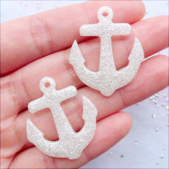 Glittery Anchor Charms | Anchor Pendant with Glitter | Anchor Cabochons | Kawaii Resin Charms | Decoden Pieces | Nautical Phone Case | Kistch Jewelry Making (2 pcs / White / 27mm x 32mm / Flat Back)