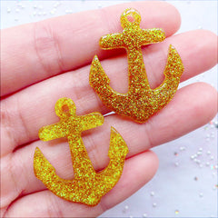 Glitter Anchor Charms | Nautical Anchor Pendant | Resin Anchor Cabochons | Kawaii Decoden Supplies | Glittery Cell Phone Deco | Kistch Jewellery Making (2 pcs / Gold / 27mm x 32mm / Flat Back)