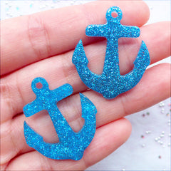Resin Anchor Charms | Glitter Anchor Pendant | Anchor Cabochons | Kawaii Crafts | Glittery Decoden Cabochon | Phone Decoration | Nautical Embellishments | Kistch Jewellery DIY (2 pcs / Blue / 27mm x 32mm / Flat Back)