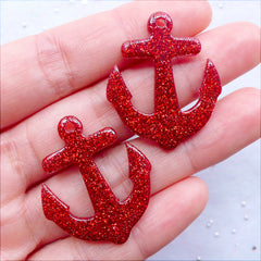 Kawaii Charms | Anchor Resin Pendant with Glitter  | Glittery Nautical Cabochons | Phone Case Decoden | Card Making | Party Decoration (2 pcs / Red / 27mm x 32mm / Flat Back)
