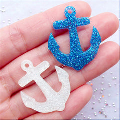 Glittery Anchor Cabochon Charms | Kawaii Resin Pendant with Glitter | Nautical Jewellery Making | Decoden Cabochons | Phone Case Deco | Scrapbooking | Party Supplies (5 pcs / Assorted Mix / 27mm x 32mm / Flat Back)