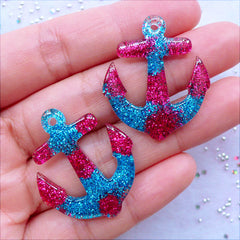Kawaii Resin Charms | Nautical Pendant with Glitter | Glittery Anchor Cabochons | Decoden Craft Supplies | Phone Case Decoration | Scrapbook Embellishments (2 pcs / Magenta & Blue / 27mm x 32mm / Flat Back)