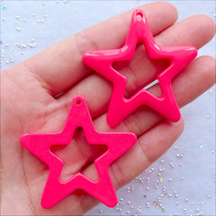 Big Star Charms | Resin Star Pendant | Kawaii Kitsch Jewelry Making | Decora Kei Decoration | Harajuki Kei & Pop Kei Supplies (2 pcs / Dark Pink / 46mm x 44mm / Flat Back)