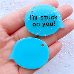 I Am Stuck On You Charms | Glittery Word Pendant | Resin Speech Bubble Cabochon with Glitter | Gift for Boyfriend | Valentines Day Gift Making | Card Making | Kawaii Phone Case | Decoden Supplies (2 pcs / Aqua Blue / 40mm x 30mm / Flat Back)