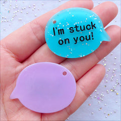 I'm Stuck On You Cabochons | Glitter Bubble Speech Pendant | Glittery Word Charm | Message Jewelry DIY | Valentines Day Decoden | Kawaii Keychain Making | Kitsch Resin Pieces (4 pcs / Assorted Mix / 40mm x 30mm / Flat Back)