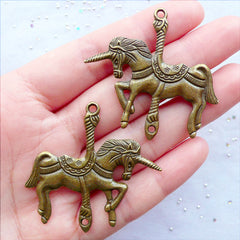 Carousel Unicorn Charm Connector | Large Unicorn Pendant | Animal Horse Charm | Merry Go Round Jewellery Making | Fantasy Jewelry DIY | Fairytale Charm | Jewelry Craft Supplies (2 pcs / Antique Bronze / 44mm x 43mm / 2 Sided)