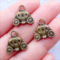 Cinderella Carriage Charms | Bronze Pumpkin Carriage Pendant | Fairy Tale Princess Jewellery DIY | Zakka Jewelry DIY | Jewelry Supplies (3 pcs / Antique Bronze / 14mm x 15mm / 2 Sided)