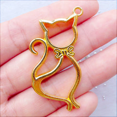 Cat Open Bezel Charm | Kitty Outline Pendant | Hollow Cat Charm | Kawaii Animal Charm | Epoxy Resin Art Supplies | UV Resin Jewellery Making (1 piece / Gold / 24mm x 47mm / 2 Sided)