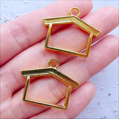 Kawaii Open Bezel Charms | Outline House Pendant | Hollow House Charm | Charm for Resin Filling | UV Resin Crafts | Epoxy Resin Jewelry Supplies (2 pcs / Gold / 29mm x 23mm / 2 Sided)