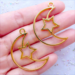 Crescent Moon and Star Open Bezel Charm | Hollow Star Moon Pendant | Outline Charm for UV Resin Filling | Epoxy Resin Craft Supplies | Kawaii Jewellery Making (2pcs / Gold / 25mm x 36mm)
