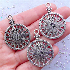 Fleur de Lis Compass Charms | Nautical Navigation Pendant | Assemblage Steampunk Jewellery | Jewelry for Scout | Keychain Charm DIY | Bag Charm Making (3 pcs / Tibetan Silver / 26mm x 37mm)