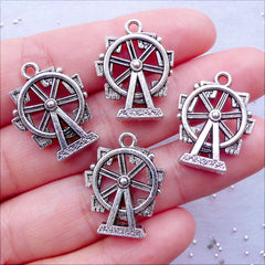 Ferris Wheel Charms | Observation Wheel Pendant | Amusement Park Jewellery | Carnival Jewelry | Kitsch Charm | Zipper Pull Charm Making | Handbag Charm DIY (4 pcs / Tibetan Silver / 17mm x 22mm / 2 Sided)