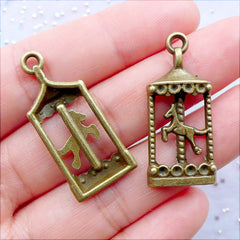 Carousel Charms | Carousel Horse Pendant | Merry Go Round Charm | Amusement Park Charm | Carnival Charm | Theme Park Jewellery | Fairy Tale Jewelry | Kawaii Charm Supplies (3 pcs / Antique Bronze / 15mm x 33mm)