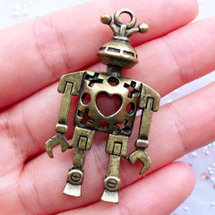 Heart Robot Charm in 3D | Hollow Robot Pendant | Vintage Mechanical Toy Charm | Steampunk Charm | Sci Fi Jewellery | Keychain Making (1 piece / Antique Bronze / 27mm x 18mm / 2 Sided)