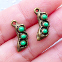 Small Pea Charms | Miniature 3D Peas in a Pod Pendant | Mini Green Pea Enamel Charm | Vegetable Charm | Food Jewellery Making | Charm Bracelet DIY (2pcs / Antique Bronze / 7mm x 17mm)