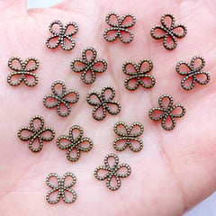 Tiny Flower Charm Connector | Four Leaf Clover Outline Charm | Outlined Buttefly Charm | Mini Chinese Knot Connetor | Charm Bracelet Making | Jewellery Craft Supplies (15pcs / Antique Bronze / 10mm x 8mm / 2 Sided)