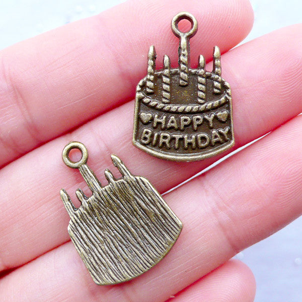 a8fe80b69f2f8 Happy Birthday Charms | Birthday Cake with Candles Pendant | Gift Deco |  MiniatureSweet | Kawaii Resin Crafts | Decoden Cabochons Supplies | Jewelry  Making