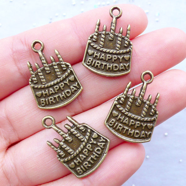 Happy Birthday Charms | Birthday Cake with Candles Pendant | Gift Decoration | Party Supplies | Favor Charm | Word Message Charm | Wine Glass Charm DIY | Card Making (4pcs / Antique Bronze / 15mm x 22mm)