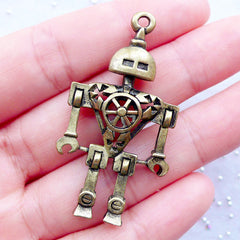 3D Robot Charm | Vintage Robot Pendant | Antique Mechanical Toy Charm | Sci Fi Charm | Steampunk Jewelry | Keychain DIY | Gift for Him (1 piece / Antique Bronze / 25mm x 46mm / 2 Sided)