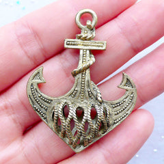 Large Anchor Charm | Nautical Anchor Pendant | Pirate Jewellery | Steampunk Charm | Charm Necklace | Keychain Making | Ocean Sea Boat Ship Jewelry (1 piece / Antique Gold / 35mm x 46mm / 2 Sided)