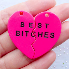 Best Bitches Resin Charms | Best Bitch Heart Pendant | Friendship Charm | BFF Charms | Kawaii Broken Heart Charm | Girl Power Decoden Cabochon | Best Friend Jewellery (2pcs / Dark Pink / 21mm x 36m / Flat Back)