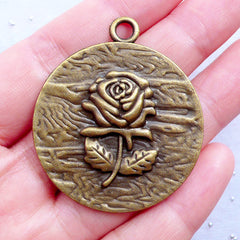 Large Rose Tag Charm | Big Flower Pendant | Floral Jewellery Making | Rose Necklace | Zakka Supplies | Keychain Charm | Planner Charm DIY (1 piece / Antique Bronze / 38mm x 45mm)