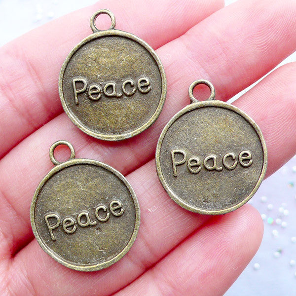 Peace Tag Charms | Round Peace Pendant | Inspirational Charms | Love Charm | Word Charm | Zipper Pull Charm Making | Bookmark Charm DIY (3pcs / Antique Bronze / 18mm x 22mm / 2 Sided) - MiniatureSweet