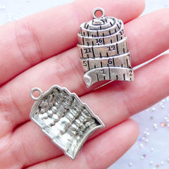Silver Measuring Tape Charms | Tape Measure Pendant | Ruler Tape Charm | Sewing Jewellery | Seamstress Charm | Quilting Charm | Keychain Making | Bookmark Charm DIY (3pcs / Tibetan Silver / 16mm x 25mm)