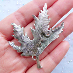 Large Maple Leaf Charm | Huge Floral Pendant | Falling Leaf Pendant | Nature Charm | Autumn Jewellery | Necklace Making | Earrings DIY (1 piece / Tibetan Silver / 46mm x 55mm)
