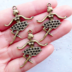 Ballet Dancer Charms | Ballerina Pendant | Dancing Lady Charm | Jewellery for Ballet Performers | Wine Glass Charm Making | Bookmark Charm DIY (3 pcs / Antique Bronze / 29mm x 34mm)