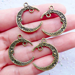 Crescent Moon with Face Charm Connectors | Moon Pendant | Fairytale Charm | Fairy Tale Jewellery | Astrology Charm | Astronomy Jewelry | Necklace Making | Handbag Charm DIY (4 pcs / Antique Bronze / 21mm x 26mm / 2 Sided)