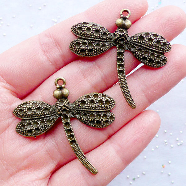 Big Dragonfly Charms in Antique Style | Insect Pendant | Nature Jewelry Supplies | Earring DIY | Necklace Making | Zakka Craft Shop (2pcs / Antique Bronze / 38mm x 36mm)