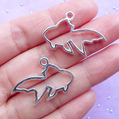 Silver Open Bezel | Hollow Goldfish Charm | Fish Outlined Pendant | Animal Deco Frame Charm for UV Resin Jewelry Making (2 pcs / Silver / 29mm x 19mm)
