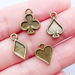 Poker Suit Charms | Suits of Playing Card Pendant | Mini Spade Charm | Tiny Heart Charm | Small Club Charm | Little Diamond Charm | Casino Jewellery | Alice in Wonderland Charm (4pcs / Antique Bronze)