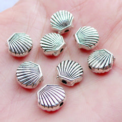 Seashell Beads | Silver Sea Shell Bead | Small Marine Life Beads | Sealife Jewellery | Mini Sea Animal Bead | Ocean Creature Beads | Summer Beach Bracelet DIY (8 pcs / Tibetan Silver / 9mm x 8mm / 2 Sided)