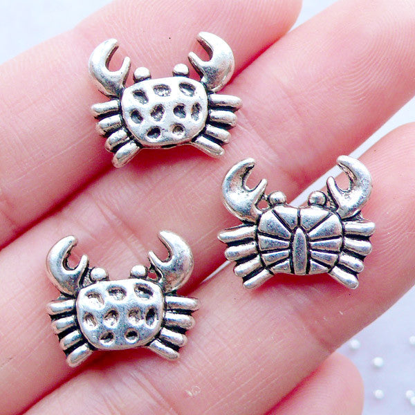 Crab Beads | Silver Marine Life Beads | Beach Jewellery | Sealife Bead | Sea Creature Beads | Ocean Bead | Animal Beads | Small Hole Bead | Embellishment Supplies (3 pcs / Tibetan Silver / 15mm x 13mm / 2 Sided)