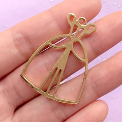 Princess Girl Dress Open Backed Bezel Charm | Kawaii Jewelry Making | UV Resin Craft Supplies (1 piece / Gold / 29mm x 40mm)